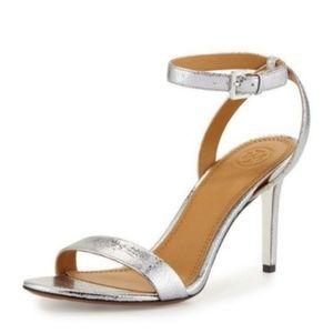 Tory Burch Sandal Heel 85MM Metallic Silver Strap
